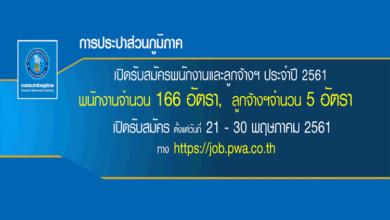 การประปาส่วนภูมิภาค รับสมัครพนักงาน 171 อัตรา