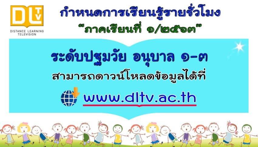 มาแล้ว กำหนดการเรียนรู้รายชั่วโมง DLTV ระดับปฐมวัย ภาคเรียนที่ 1 ปีการศึกษา2563
