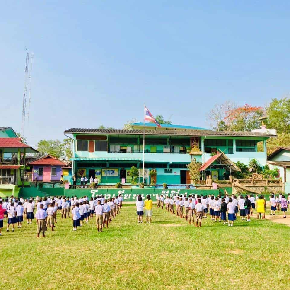 บรรยากาศโรงเรียนดีๆที่โรงเรียนมิตรมวลชนเชียงใหม่ อ.เชียงดาว จ.เชียงใหม่