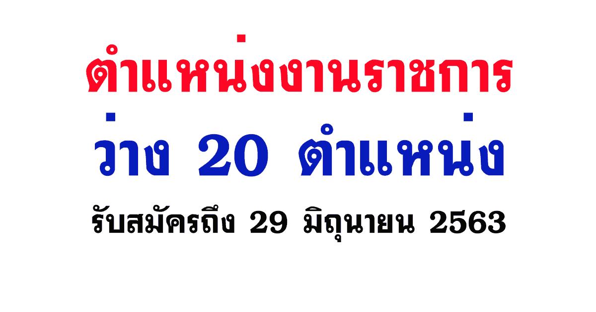 ตำแหน่งงานราชการว่าง 20 ตำแหน่ง รับสมัครถึง 29 มิถุนายน 2563