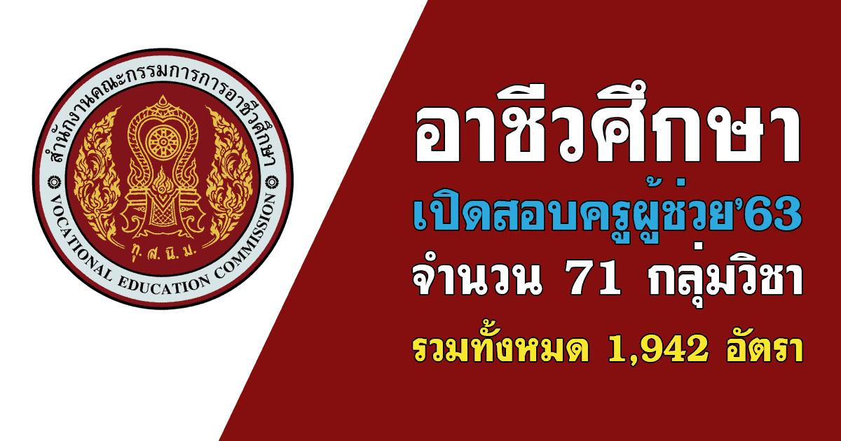 อาชีวศึกษา เปิดสอบครูผู้ช่วย พ.ศ.2563 จำนวน 71 กลุ่มวิชา รวมทั้งหมด 1,942 อัตรา