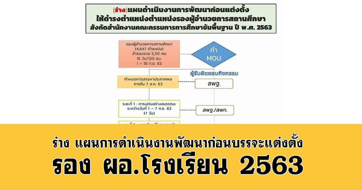 ร่าง แผนการดำเนินงานพัฒนาก่อนบรรจุแต่งตั้ง รอง ผอ.โรงเรียน 2563