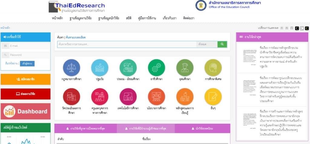 สำนักงานเลขาธิการสภาการศึกษา เปิดเว็บให้บริการสืบค้นและเผยแพร่วิจัยทางการศึกษา มีทั้งบทคัดย่อและเล่มสมบูรณ์ให้ดาวน์โหลด
