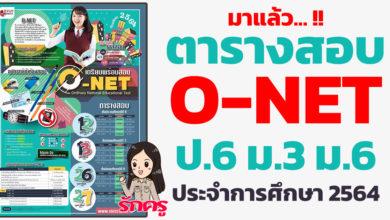 ตารางสอบ O-NET ป.6 ม.3 และ ม.6 ประจำปีการศึกษา 2564